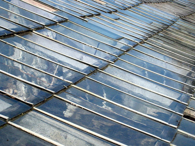 Detail of the glasshouse roof in Pentillie Castle kitchen garden