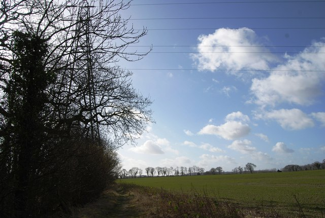 Footpath passes under the electrical lines
