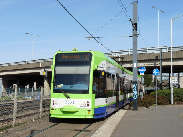 Tram at Waddon New Road
