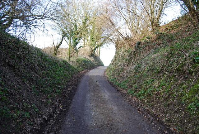 Small lane climbs the Greensand Escarpment (2)