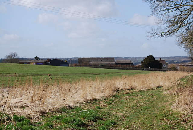 Looking towards Hartley Park Farm from a footpath junction