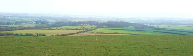 Views across fields to Trefgarne Hall