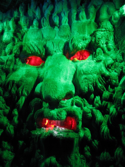 Green man in the grotto under Leeds castle maze