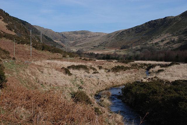 Afon Cyneiniog near the head of the cwm