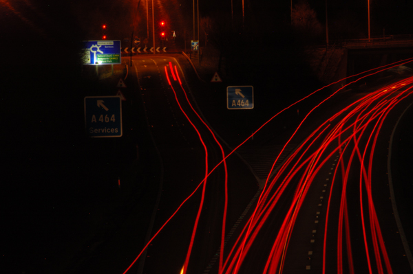 M54 junction 4 eastbound exit at 20:30 in early March