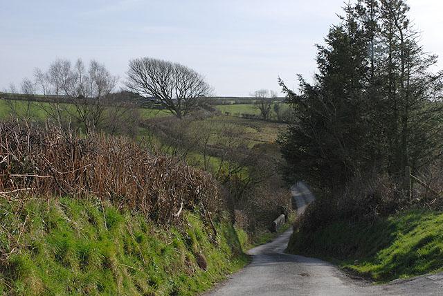 Steep hill near Bryngwyn