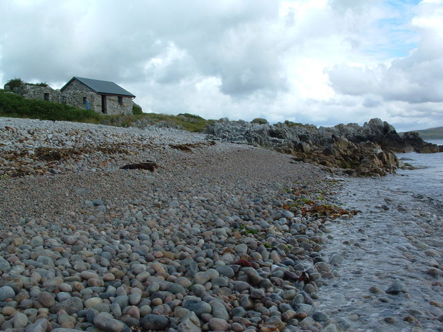 Rocky beach below An Cladach