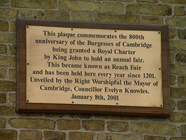 Reach Fair 800th Anniversary plaque