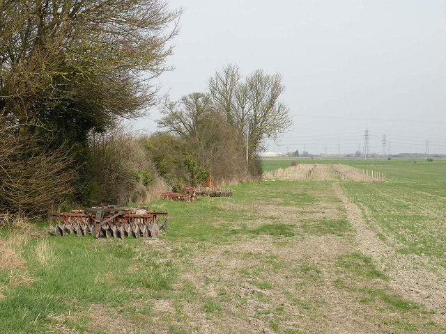 Field with abandoned equipment