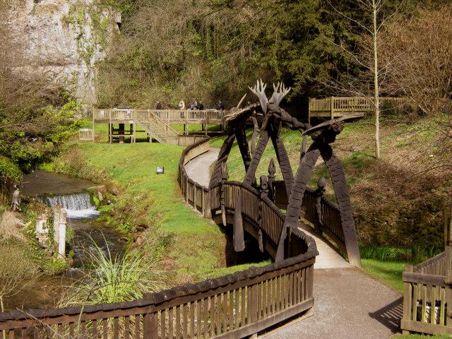 Wookey Hole, footbridge in the park.