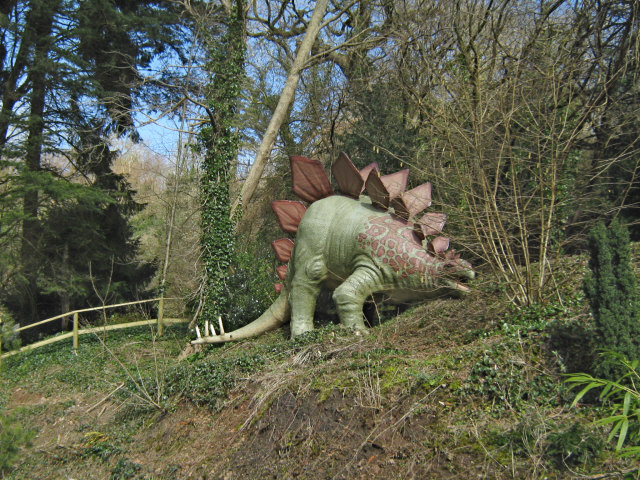 Wookey Hole, dinosaur in the park.