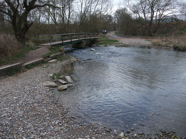 Footbridge and ford over the River Poulter at Crook Ford