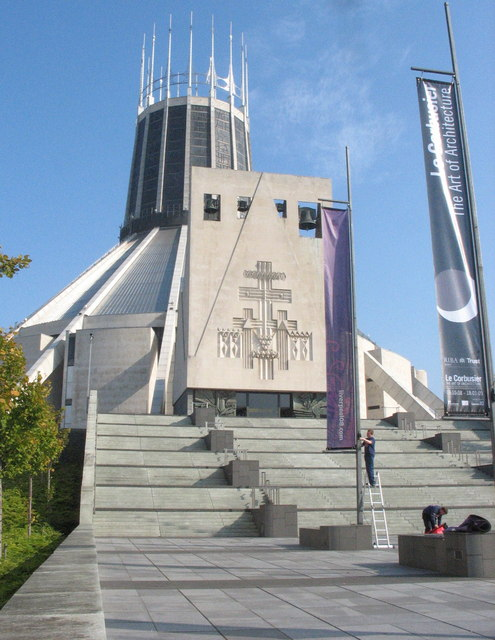 The steps leading up to the main entrance of the Metropolitan Cathedral