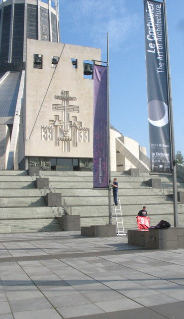 Banner hangers on the forecourt of the Metropolitan Cathedral