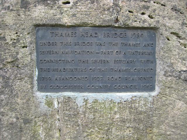 Plaque on Thames Head Bridge