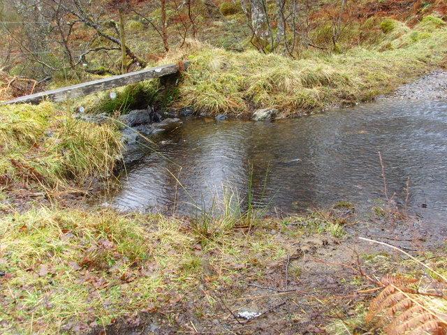 Ford and a (very slippery) footbridge across Allt Coire Shalachaidh