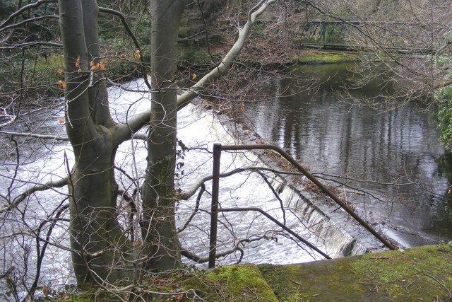 Weir and footbridge over the Nidd at Castlehead