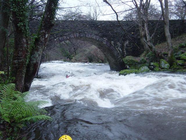 Ogwen in flood at Bryn Bella Bridge