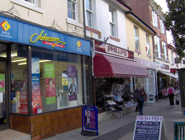Dry cleaners and other shops, St Marychurch Precinct