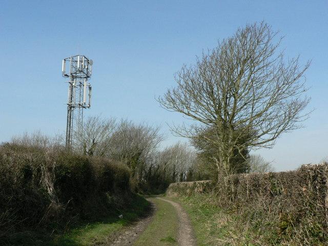 Unmarked mast near Llantwit Major.