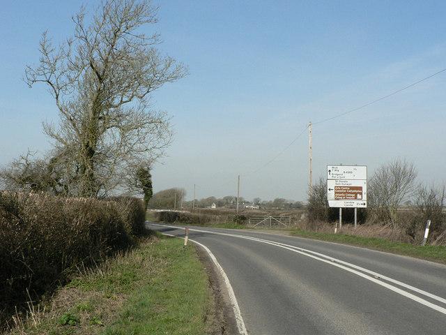 Dangerous bend west of Llantwit Major.