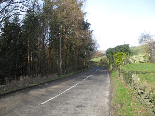 The A708 running past Foulshiels Farm