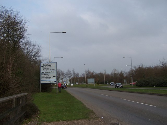 Approaching Great Linford roundabout