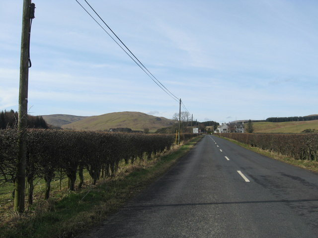 The A708 heading for crossroads and the Gordon Arms