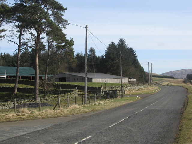 Looking across the A708 towards Craig Douglas Farm