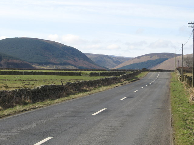 The A708 passing the Dryhope Farm