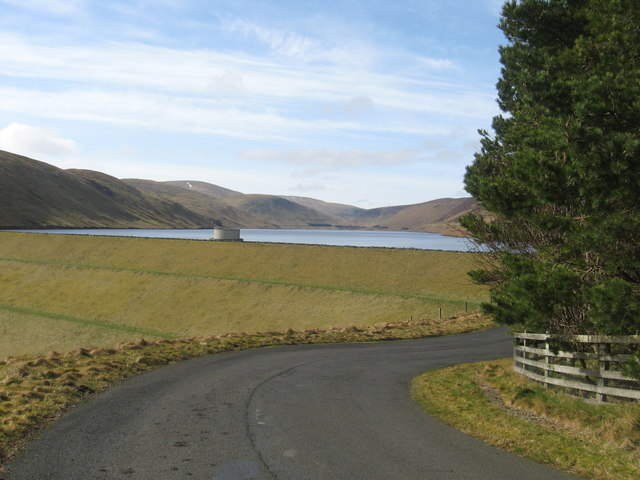 Minor road heading down to Megget Reservoir, seen in the background