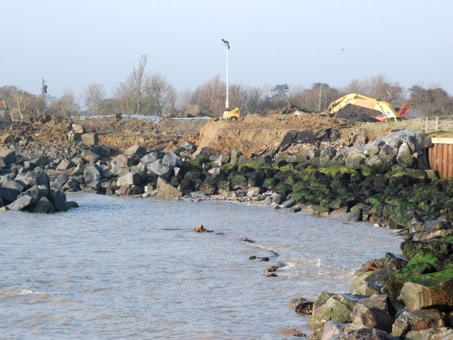 Repairing the sea wall, East Lane
