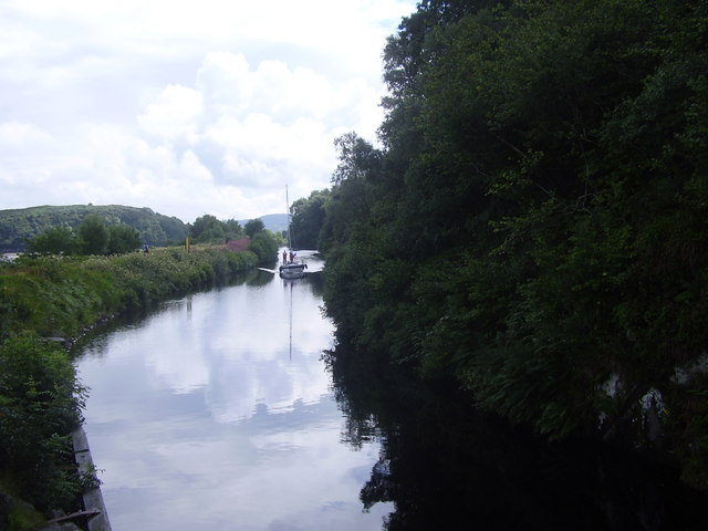 Yacht on the last stage of Crinan Canal