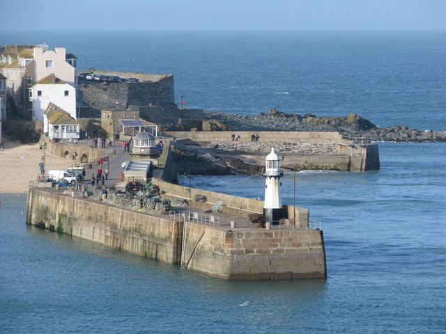 Modern Harbour wall with Smeaton's Pier beyond