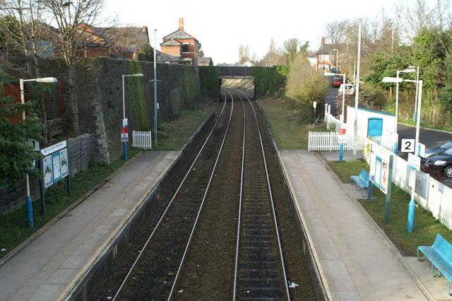 View North from the platform footbridge, Hawarden Station