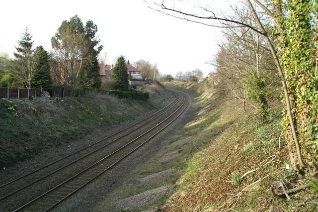 View north from the B5125 railway bridge