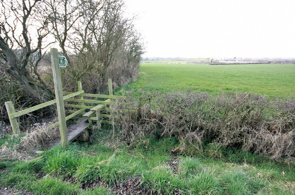 Footpath, Bridge and Stile off Knitting Row Lane
