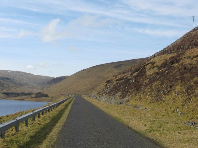 Minor road heading towards Tweedsmuir at Megget