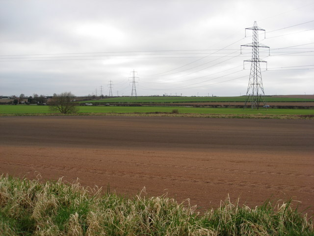 Footpath view of pylons crossing the A614
