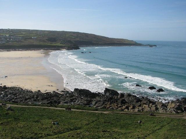The coastal footpath skirts Porthmeor Beach