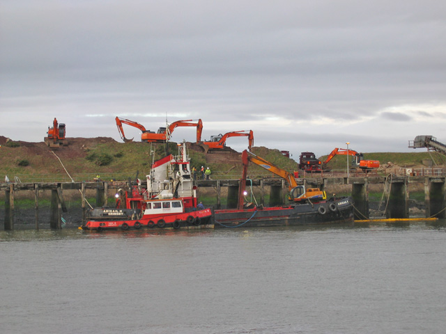 Refloated dredger, Heysham harbour
