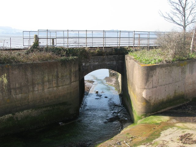 Withycombe Brook enters the Exe at Exmouth