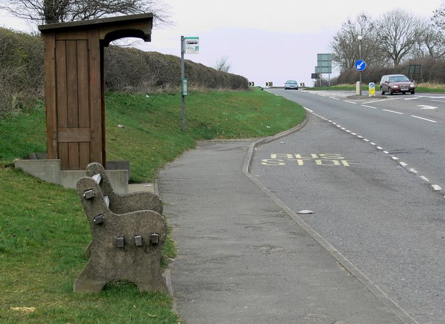 Bus stop along the A607 Leicester Road