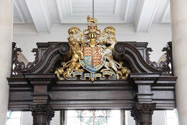 St Lawrence Jewry, Gresham Street, London EC2 - Screen detail showing Royal Arms