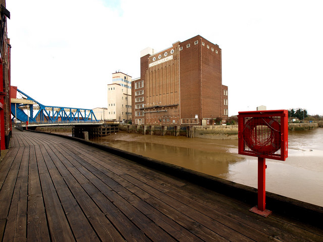 The River Hull, Drypool Bridge and a redundant flour mill