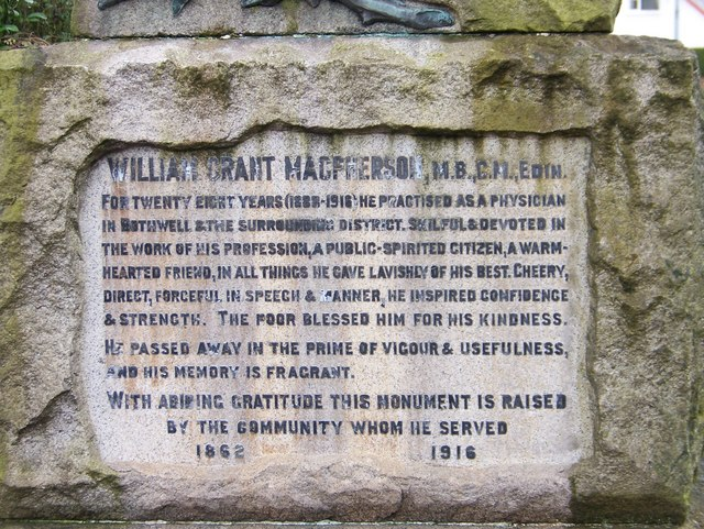 The plaque on the memorial to William Grant Macpherson