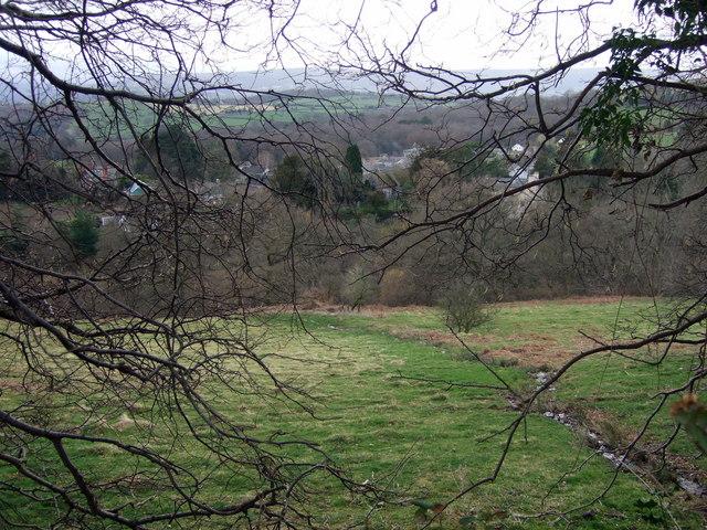 Llanbedr Ystrad Yw through the trees