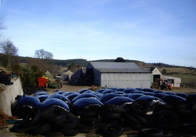 Wrapped hay bales at Balnacraig