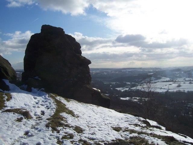 Head shaped rock on Froggatt Edge