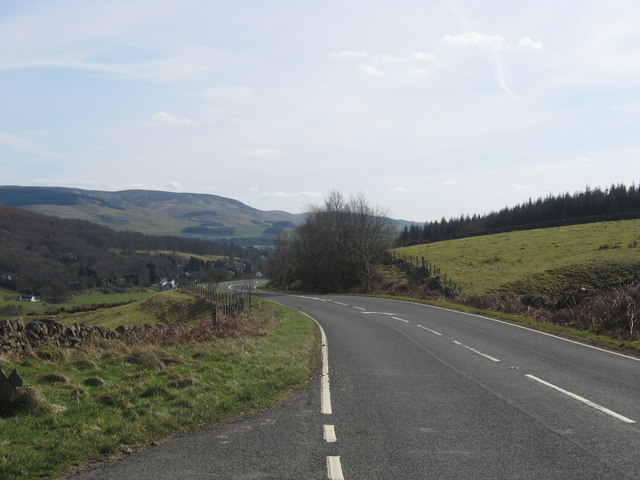 The A701 highway heading south near Moffat